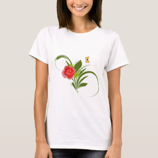 Red Rose+Butterfly T-Shirt