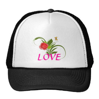 Red Rose+Butterfly Trucker Hat
