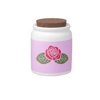 Red Rose Candy Jar