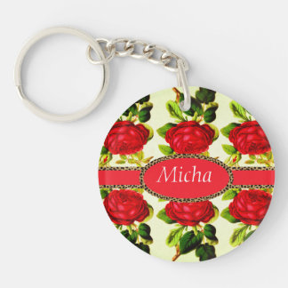 Red Rose Cheetah Monogram Vintage Double-Sided Round Acrylic Keychain
