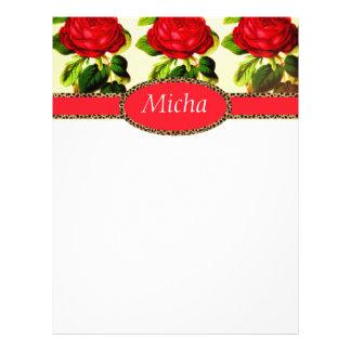Red Rose Cheetah Monogram Vintage Letterhead