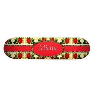 Red Rose Cheetah Monogram Vintage Skateboard Deck