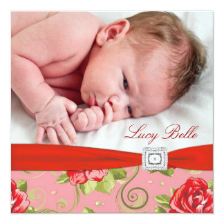 Red Rose Chintz Pink Rose Baby Girl Photo Birth 5.25x5.25 Square Paper Invitation Card