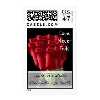 Red Rose Christian Wedding Save the Date Postage