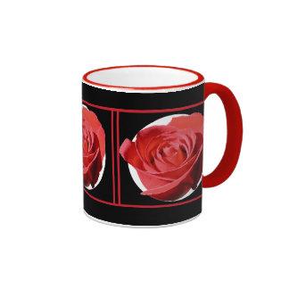 Red Rose Close Lone Circles Ringer Coffee Mug