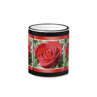 Red Rose Close Ringer Coffee Mug