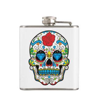 Red Rose & Colorful Retro Floral Skull Hip Flask