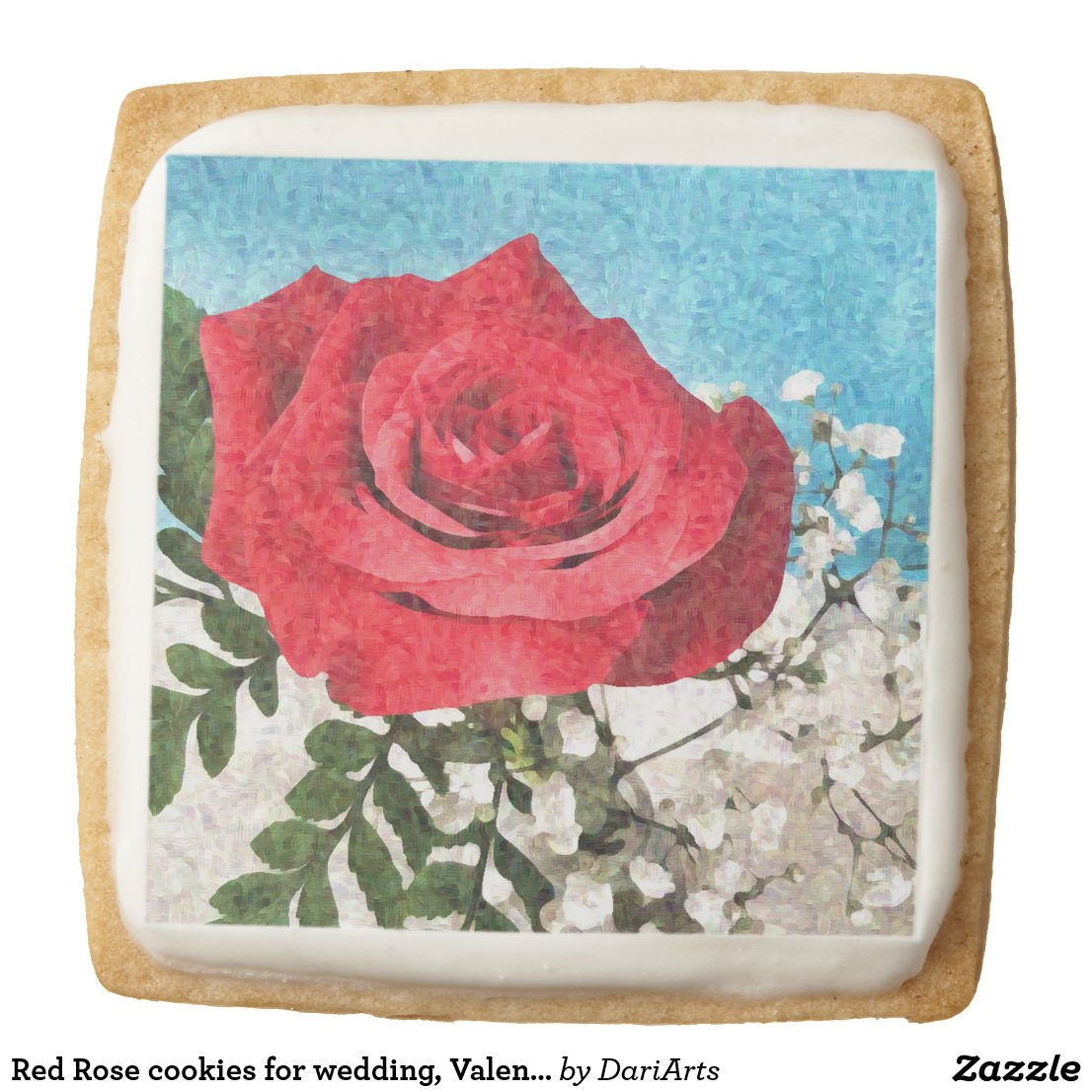 Red Rose cookies for wedding, Valentines, birthday
