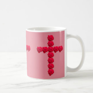 Red Rose Cross Coffee Mug w/ Pink Background