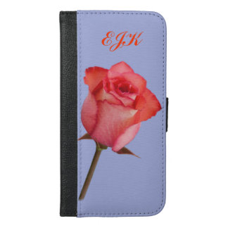 Red Rose, Customizable Monogram iPhone 6/6s Plus Wallet Case