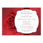 "Red Rose Damask Bridal Shower Invitations 5"" X 7"" Invitation Card"