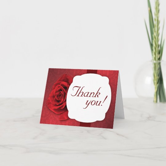 Red Rose Damask Custom Thank You Cards Zazzle Com