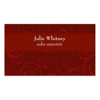 Red Rose Damask Swirl Template Business Card Template