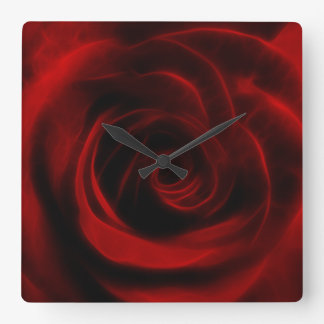 Red Rose depth of love Square Wall Clock