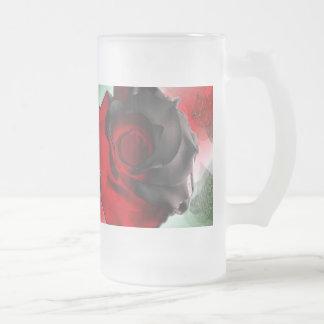Red Rose design Frosted Glass Beer Mug