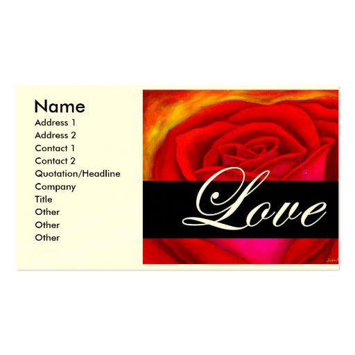 Red Rose Dog Cat Painting Art - Multi Double-Sided Standard Business Cards (Pack Of 100)