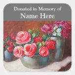 Red Rose Donation Bookplate Square Sticker