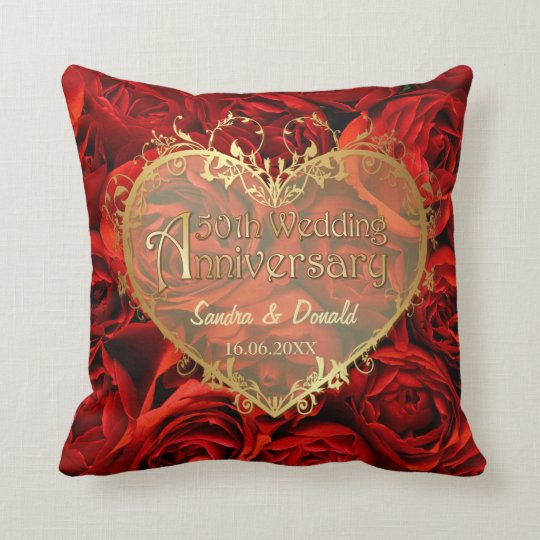 Red Rose Elegance - 50th Wedding Anniversary Throw Pillow