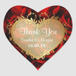 Red Rose Elegance -  Thank You Heart Sticker