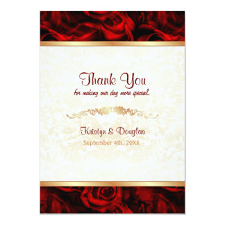 Red Rose Elegance - Thank you Personalized Invite