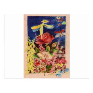 Red rose elve postcard