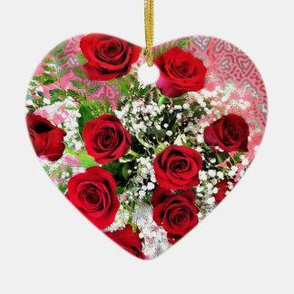 Red Rose Explosion of Love Ceramic Ornament