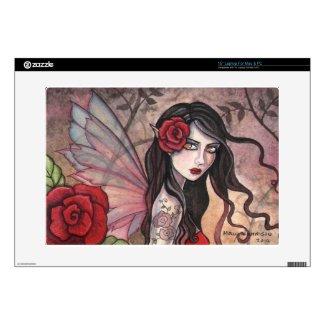 Red Rose Fairy Fantasy Art Laptop Skin musicskins_skin