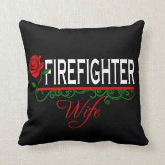 Red Rose Firefighter Wife Decor Pillow