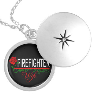 Red Rose FIREFIGHTER WIFE Locket Necklace