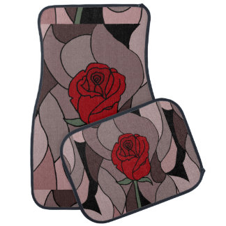 Red Rose Floral Art Abstract Car Mat