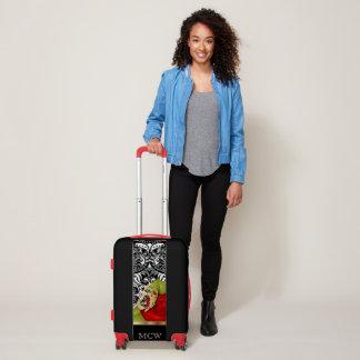 Red Rose Floral Design | Monogram Luggage