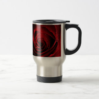 Red Rose Floral Flower Rose Petals Blossoms Dew Travel Mug