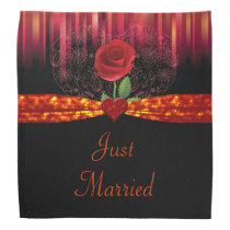 Red Rose Floral Heart & Stripes Wedding Bandana