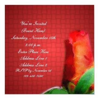 Red Rose Floral Square Invitation