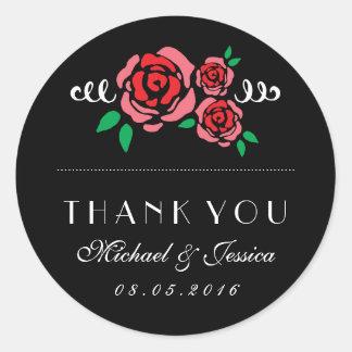 Red Rose Floral Wedding Favor Thank You Sticker
