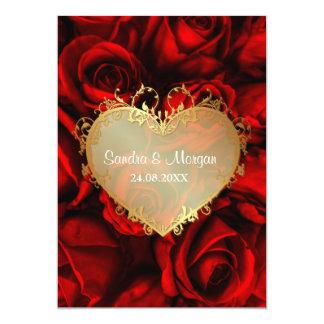 "Red Rose Floral Wedding Invitation 5"" X 7"" Invitation Card"