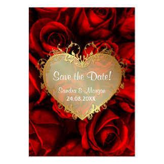 Red Rose Floral Wedding Save the Date Large Business Cards (Pack Of 100)
