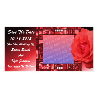 Red Rose Floral Wedding Save The Date Photo Card