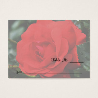 Red Rose Floral Wedding Table Place Cards