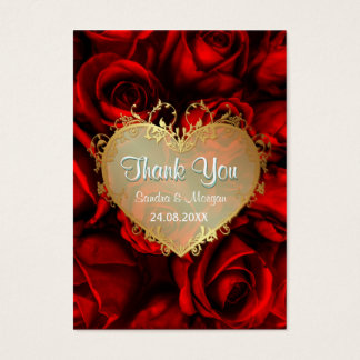 Red Rose Floral Wedding Thank You Business Card