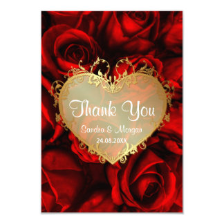 Red Rose Floral Wedding Thank You Card