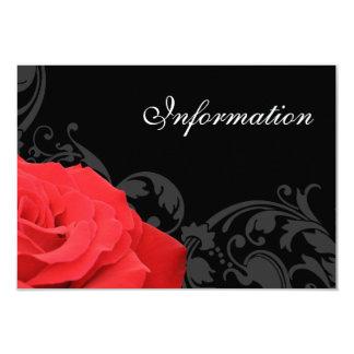 Red Rose Flourish Wedding Information Card