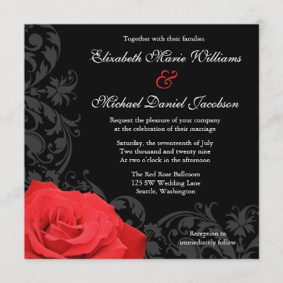 Red Rose Flourish Wedding Invitation