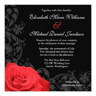 Red Rose Flourish Wedding Invitation