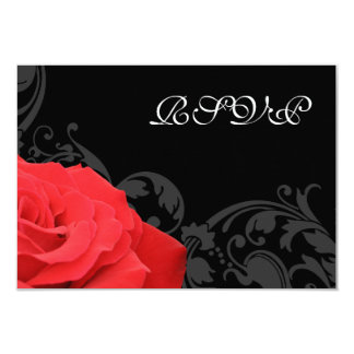 Red Rose Flourish Wedding RSVP Response Card