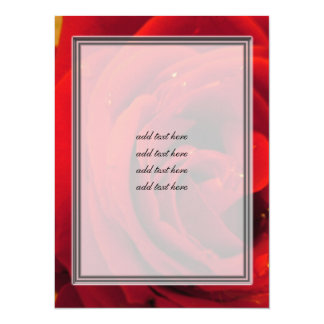 red rose flower 5.5x7.5 paper invitation card