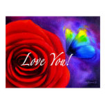Red Rose Flower Butterfly Painting - Multi Postcards