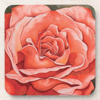Red rose flower coaster