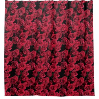 Red Rose Flower Garden Floral Shower Curtain