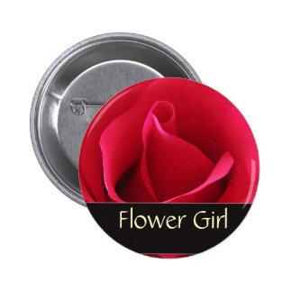 Red rose flower girl pin